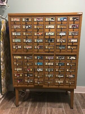 Antique Library Card Catalog Cabinet 60 Drawer solid wood