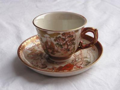 Antique Japanese Kutani cup and saucer with wise men in garden handpainted #4412