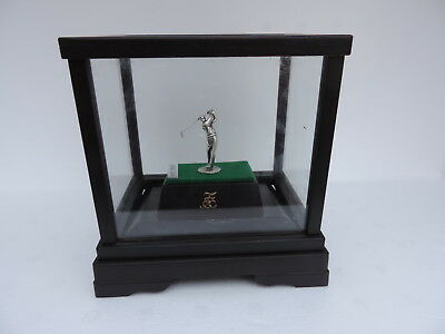 Rare Japanese Sterling Silver Figural Golfer Golf Trophy Cup W Glass Case Japan