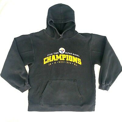 NFL Pittsburgh Steelers Five Time Super Bowl Champions Hooded Sweatshirt Boys XL