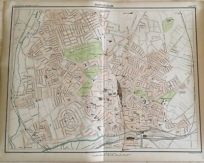 Antique Map Of Nottingham c 1891 Centred On Great Northern Railway/Great Central