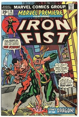 Marvel Premiere #16 NM- 9.2 ow/white pages  2nd app. Iron Fist  1974  No Reserve