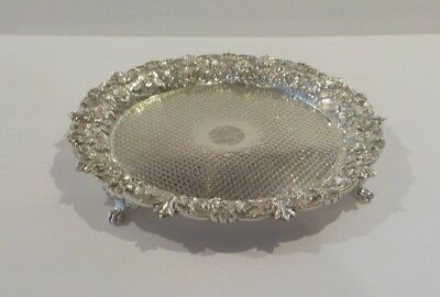 """Kirk REPOUSSE Sterling Silver 10"""" Footed Tray, c. 1896-1924, 565 grams"""