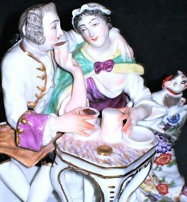 Antique French Meissen Qty Samson Courting Couple & Pug Dog Porcelain Figurine
