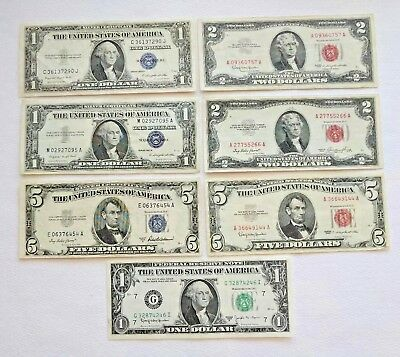 Lot of 7 Various Notes Silver Certs Red Seals *BONUS Barr Note* EX-AU Condition