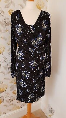 Marks and spencer new with tags Black Patterned Wrap Dress Size 20