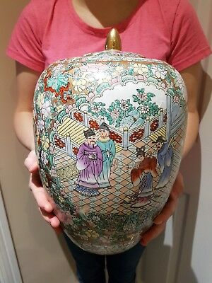 Large Antique  Chinese Porcelain  Famille Rose Jar Vase