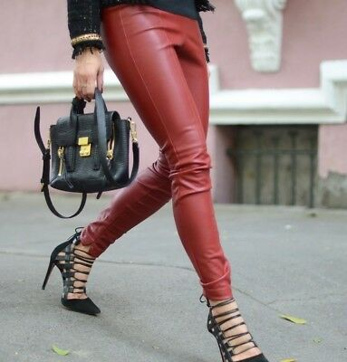 2bf3634e7b4f ZARA Faux Leather Effect Leggings Trousers Pants Red Size M Medium Burgundy