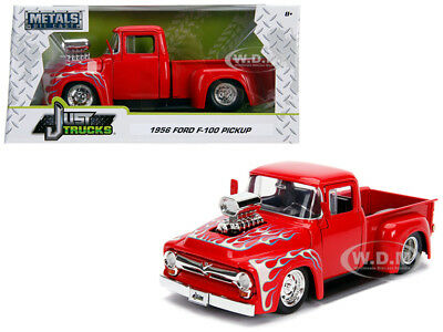BoxDented 1956 FORD F-100 PICKUP TRUCK W/ BLOWER RED 1/24 BY JADA 30715