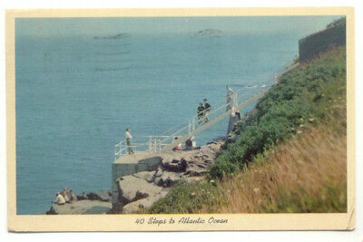 Newport RI 40 Steps at Cliff Walk Vintage Postcard - Rhode Island