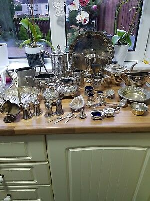 A Job Lot Of 6kg  Antique  Silver Plated Items.