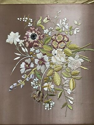 """French ANTIQUE STUNNING EMBROIDERED ART - HANDMADE work 23"""" BY 25"""""""