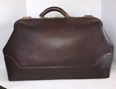"""Antique Early 1900's Brown Cowhide Leather 22""""XL Doctor's Medical Bag"""