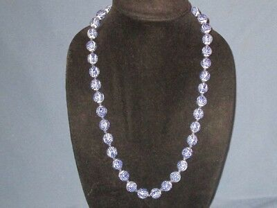 Vintage Gold-Tone Metal Blue White Ceramic Oriental Design Knotted Bead Necklace