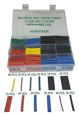 560 Pcs. 2:1 Heat Shrink Tubing Tube Sleeving Wrap Cable Wire 5 Colors 12 Sizes