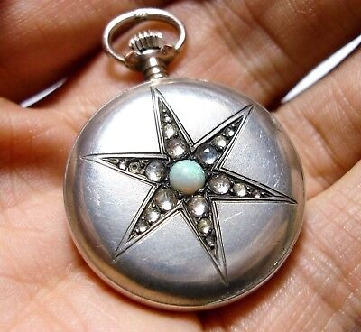 Beautiful Antique Victorian Or Edwardian Silver & Opal Fob Pocket Watch Af (D35)