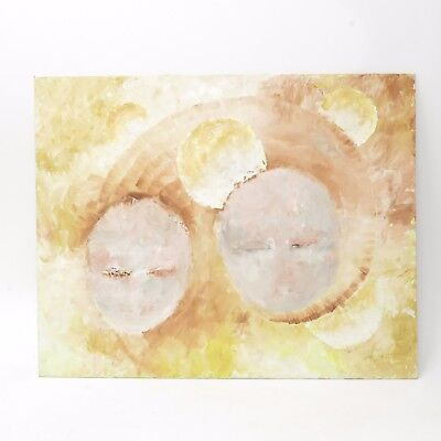 Vintage Abstract PAINTING EXPRESSIONISM Planets ? 20x16