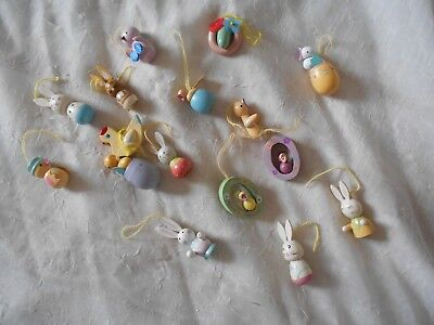 """Lot Of 16 Vintage Easter Tree Ornaments - Lots Of Details!  2"""" And Under"""