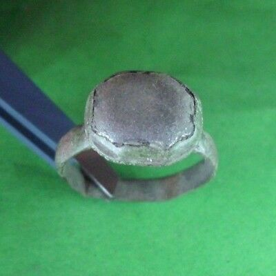 Superb Ancient Roman Bronze Ring With Stone  -  200/300 Ad