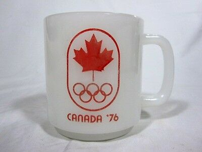 Vtg Glasbake 76 Olympics Milk Glass Coffee Cup Mug D Handle Canada Maple Leaf