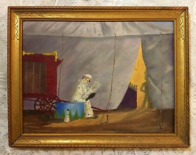 L. E. SMITH Circus O/C Painting in orig Lemon Gold Gilded frame ANTIQUE PAINTING