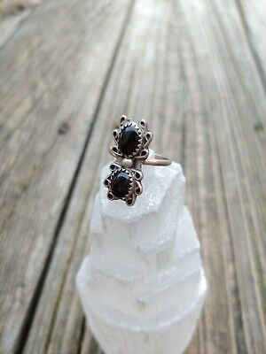 Vintage Sterling Silver Black Onyx Stone Native American Ring 6 Beautiful Design