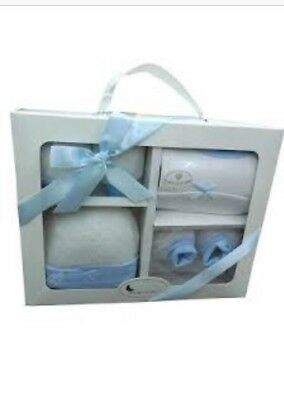 Luxury 100% Cotton 4 Piece Clothing Set Gift Box.New baby Shower Boys Gift Blue