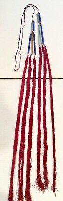 Mien Yao Head Ornament, Coiled Glass Beads Red Silk Tassels Vintage Chinese