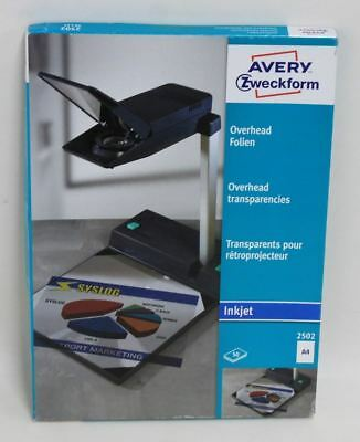 BNIB AVERY ZWECKFORM x50 2502 A4 Inkjet Projector Overhead Transparencies
