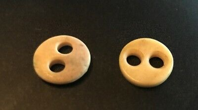 """Pair of Vintage Vegetable Ivory Buttons 2 Large Holes 5/8"""""""