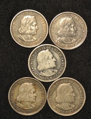 1892 Lot Of Five Of The Columbian Expo Silver Half Dollar 50C Com Nice Group  #3