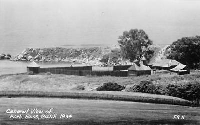 RPPC General View of Fort Ross, CA Jenner, Sonoma County 1934 Vintage Postcard