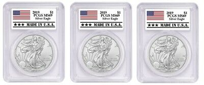 2019 1oz Silver Eagle PCGS MS69 Made In USA Label - 3 Pack
