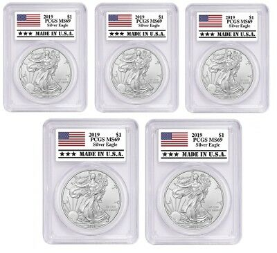 2019 1oz Silver Eagle PCGS MS69 Made In USA Label - 5 Pack