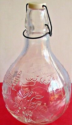 COUNTRY SCENE Vintage Clear Glass WIRE BALE Round Decanter Wine Bottle ITALY