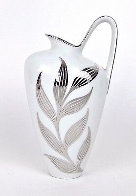 Midcentury Heinrich H & Co. White Porcelain Pitcher with Silver Metal Overlay