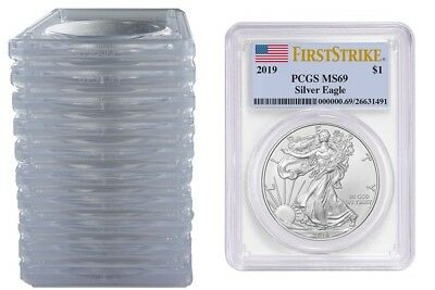 2019 1oz Silver Eagle PCGS MS69 First Strike Label - 10 Pack