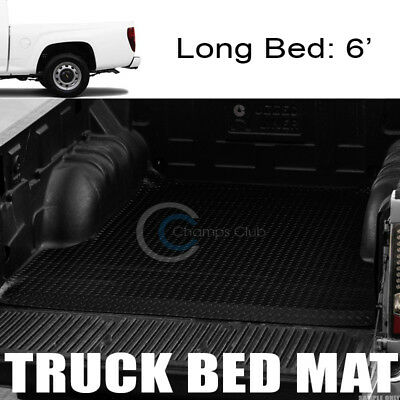 For 2015-2018 Colorado//Canyon 5 Ft Black Rubber Diamond Truck Bed Rug Floor Mat