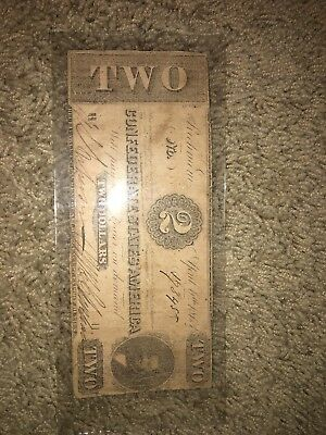 1863 Confederate States of America $2 Two Dollar Bill Civil War Currency Note!