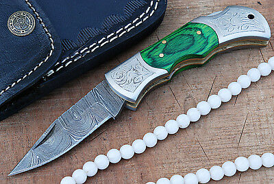 Custom hand made Damascus steel Folding knife With Sheath.(ZE-5271- Green)