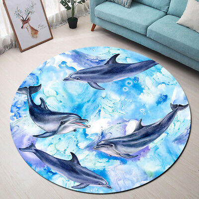 Watercolor Blue Sea Dolphins Pattern Kids Round Floor Mat Living Room Area Rugs