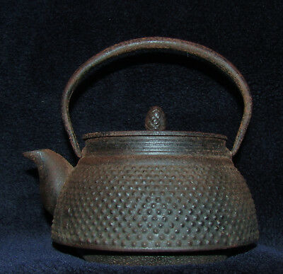 "OLD SIGNED TETSUBIN JAPANESE TEAPOT Signed on pot and underside of cover 5 3/4""T"
