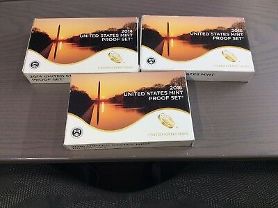 Lot of 4 - United States Mint Silver Proof Sets: 2013, 2014, 2015, 2016