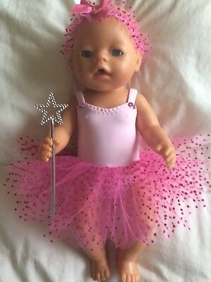 "DOLLS CLOTHES - Fairy Set to fit 17"" Baby Born doll  Pink /pink Dots"