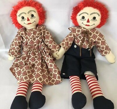 "Old Unique Vintage Raggedy Ann Andy Dolls Tall Big 24"" Quality Double 2 Eyebrows"
