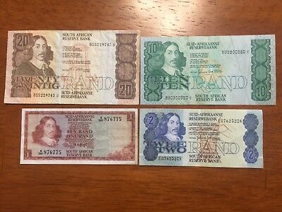 Lot of 4 pcs South Africa 1,2,10,20 rand banknotes 1967-1983