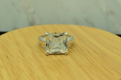 925 Sterling Silver Princess Cut Cubic Zirconia Ring Band Size 7.5 #B4748