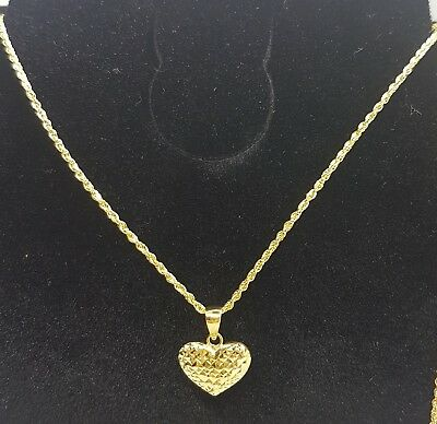 Genuine 18k Solid Saudi Gold Rope Chain With Heart Pendant 112 77 Picclick