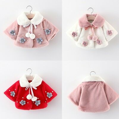 Baby Infant Girls Autumn Winter Flower Coat Cloak Jacket Thick Warm Clothes