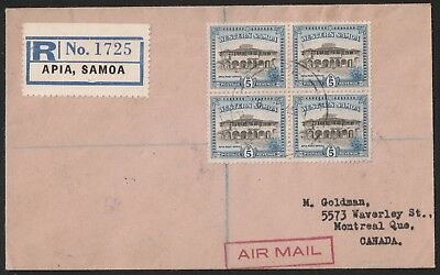 WESTERN SAMOA 🇼🇸 APIA 1949 5d BLOCK ON REGISTERED COVER TO MONTREAL CANADA